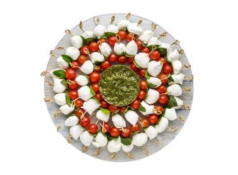 Gourmet Mini Buffalo Mozzarella, Cherry Tomatoes & Fresh Basil Platter