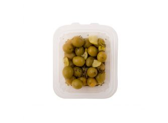 Pickled Green Olives Marinated in Thyme, Lemon Basil & Olive Oil