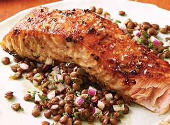 Mustard & Molasses Glazed Salmon with Lentil Salad
