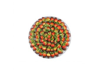 Gourmet Belgian Chocolate Dipped Strawberry Platter - Small Round