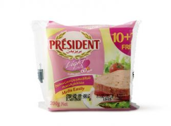 President Light Cheddar Cheese Slices