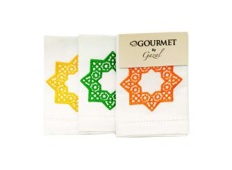 Hand Towel Yellow Green Red Star