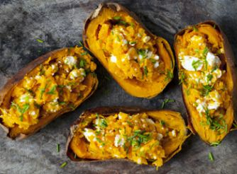 Loaded Sweet Potatoes with Feta
